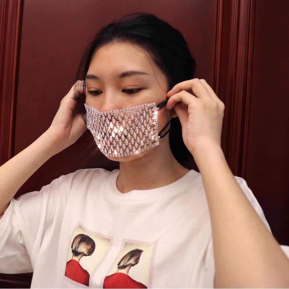 Pour encadrer le masque à faces-bijoux Mode Femmes Déclaration Bling Corps de strass Décoration Masque NightClub Party GXGM