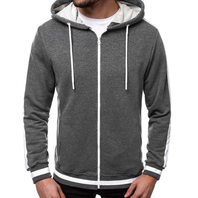 Men Hoodies Striped Patchwork Plus Size Men Zipper Sport Coats Drawstring Hoody Sweatshirts Streetwear Clothing Hoodie Top