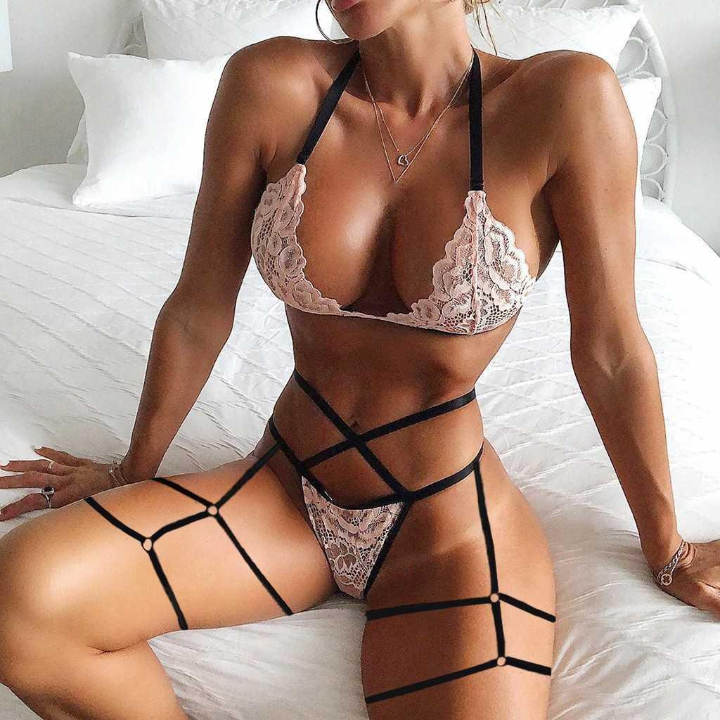 Bandage lingerie prospettiva fiore pizzo reggiseno scava fuori thong giarrettiera set sexy donne biancheria intima exotische kleding