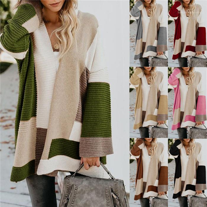 Sweaters Womens Loose Thick Long Sleeve Knits Coats OL Style Autumn Winter Sweater For Women Geometric Pattern Cardigan