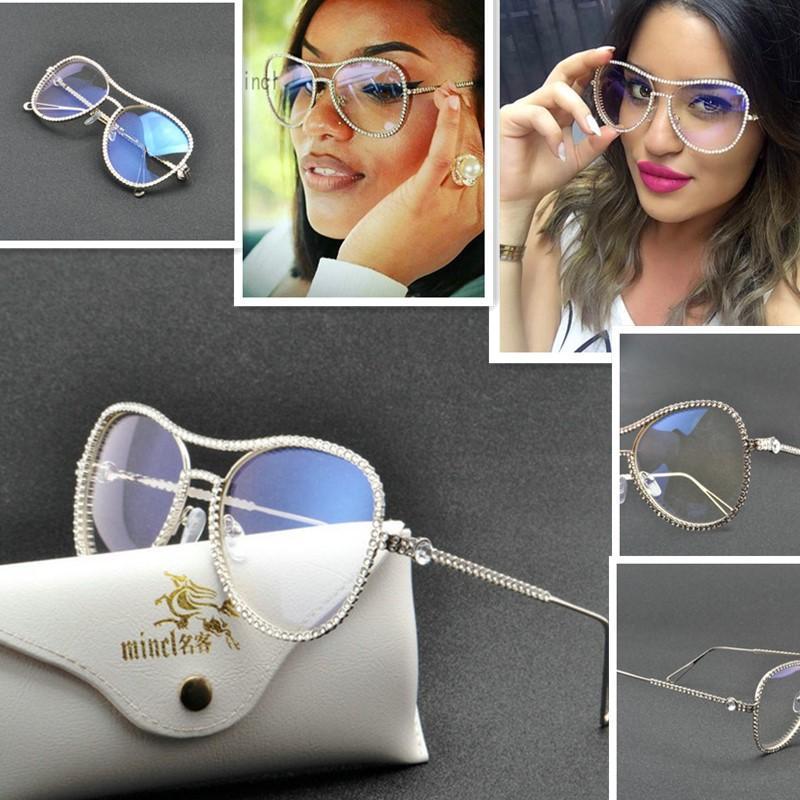 Frame piloto óculos de sol senhoras feminino diamante mulheres designer transparente mulher de luxo sol fml óculos para rhinestone handmade vidol