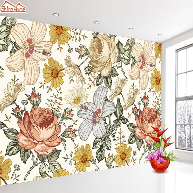 Benutzerdefinierte Tapete Wandbilder für Wohnzimmer Wohnkultur 3D Relief Vintage Hintergrund Tapisserie Kamille Rose Mural Papel De Parede