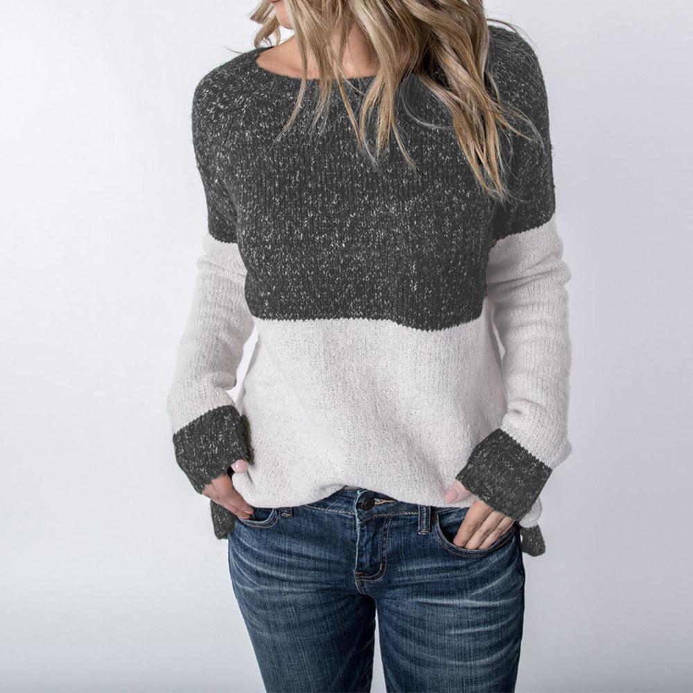 Calsuale Manica lunga Colore Collisione Camicetta a maglia da lavoro invernale Signore O-Collo Maglione Donne Casual Button Sweaters7.49