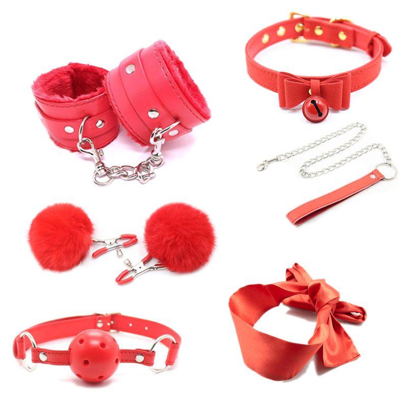 Sexspielzeug für Frauen BDSM Bondage Set Handschellen Nippelklemmen Gag Peitschen Seil Hohe Qualität Erwachsene Spiele Erotikprodukt Für Paare