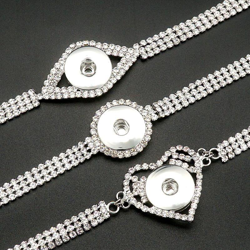 Charm Bracelets Moda Crystal Shinning Heart Metal Snap pulsera 20cm ajuste 18mm botón de joyería al por mayor