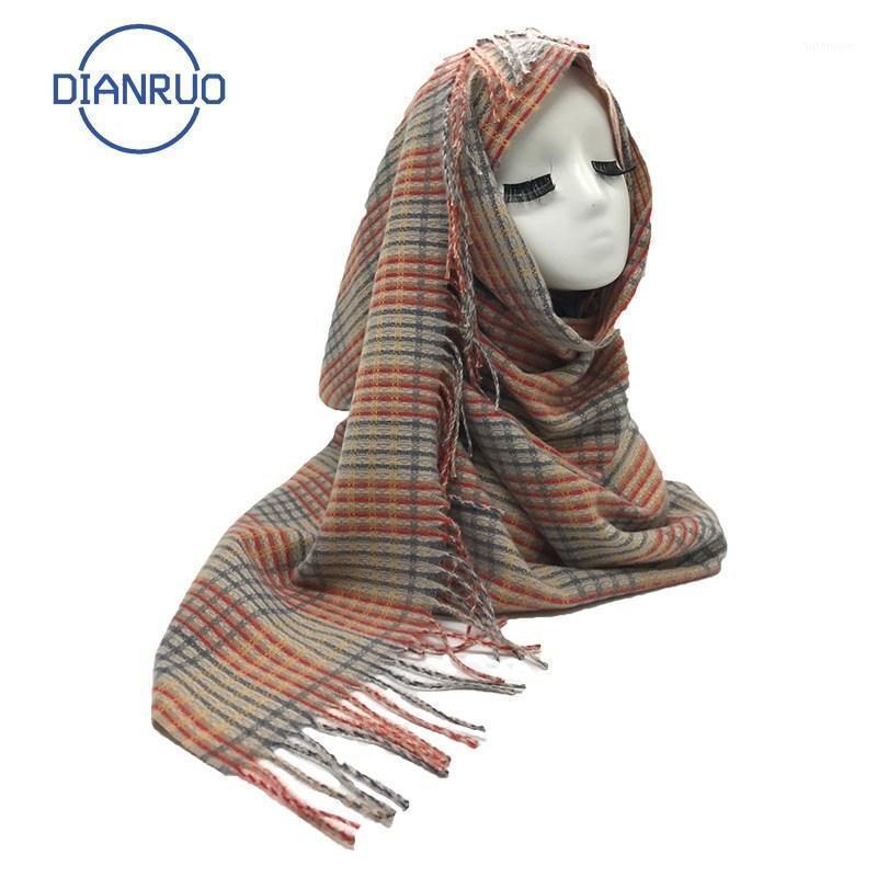 Dianruo 2020 осень зима кисточка длинный шарф для женщин модный теплый плед кашемировые женские шарфы шали Q3291