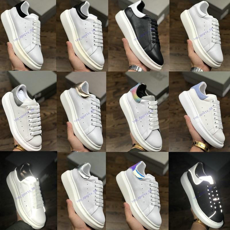 2020 مصمم أحذية المدربين عاكس 3 متر جلد أبيض منصة أحذية رياضية إمرأة رجل شقة عارضة حزب أحذية الزفاف من جلد الغزال الرياضية أحذية