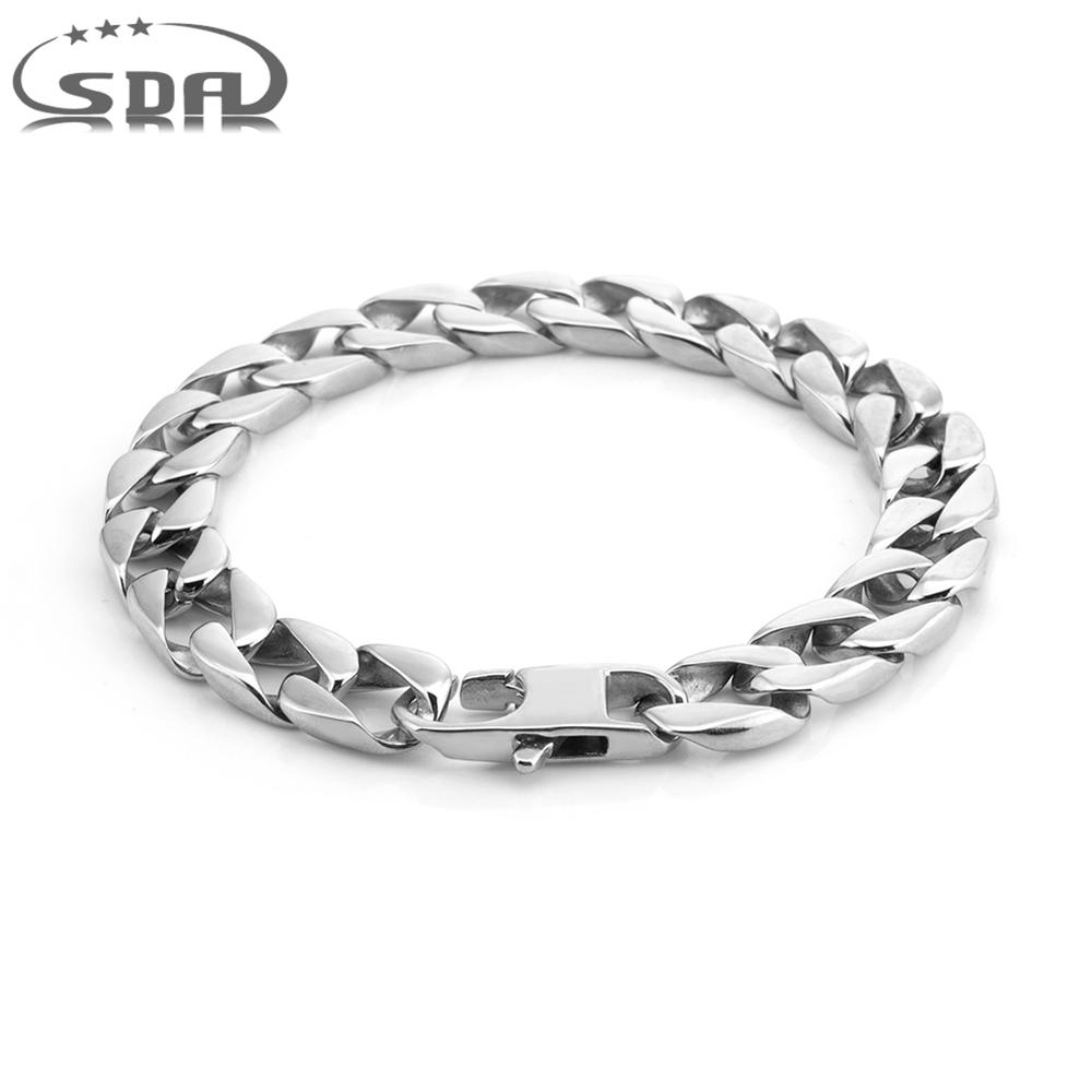 Hot Gift for Men's Bracelet 316L Stainless Steel Round Curb Cuban Link Chain Bracelets Male Jewelry B414