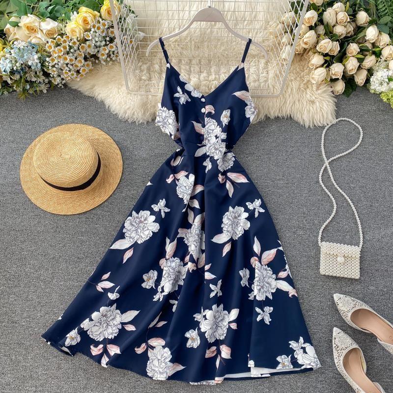 Boho V Neck 2021 Floral Print Slim Sexy Spaghetti Strap Midi Long Dress Summer Casual Party Women A-Line Beach Holiday Dress