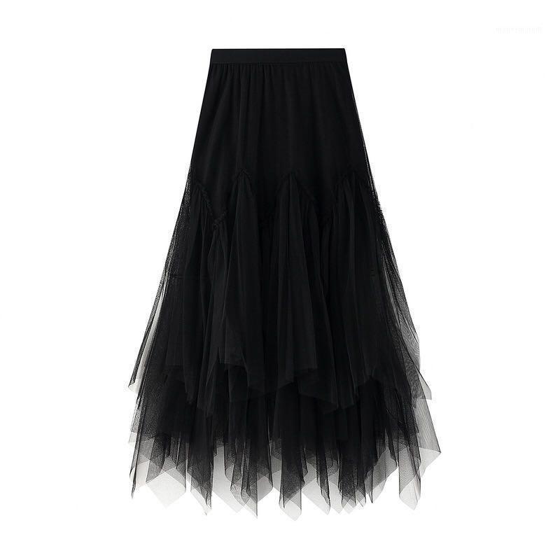 Mujeres otoño chic tutu falda femenina larga maxi elástica alta cintura plisada bola plisada falda señora niña estudiante de tul Faldas de tul