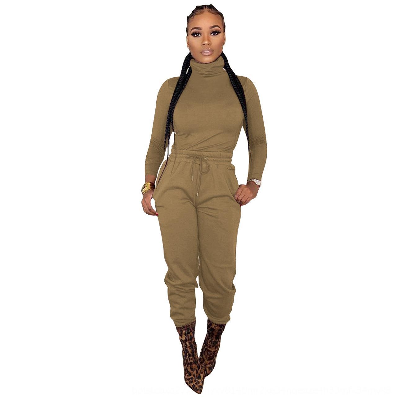 UBFW PLUS Размер XL-5XL Женщины Couscsuit Сплошной Цвет 2 Шт. Набор Одежда Рукав Рукав + Леггинсы Спортивные Длинные Суис осень Winter Jogger Outifits 37