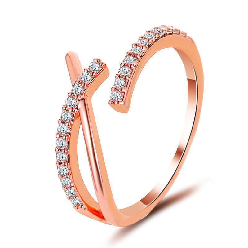 Nova Coréia Cruz Anéis Estilo Cool Anel de Cristal Geométrico Anel Mulheres Abertura de Dedo Ouro Branco K Mão Acessórios De Jóias