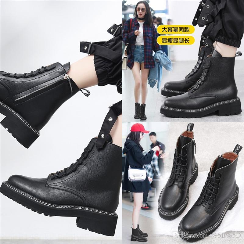 D7GE High Squeedboots Зимний пустынный каблук женская обувь дизайнерские кожаные роскоши реальные грубые сапоги сапоги на высоком каблуке большие сапоги
