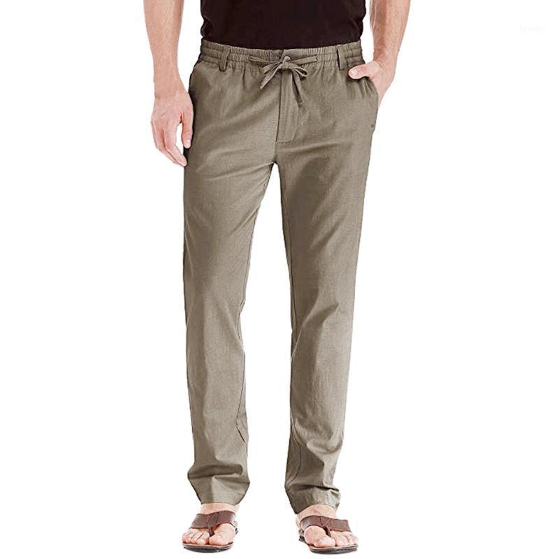 Мужские брюки случайные льняные дышащие свободные спортивные длинные брюки сплошные цвета прямые брюки трусы высокого качества работы мужчины мода1