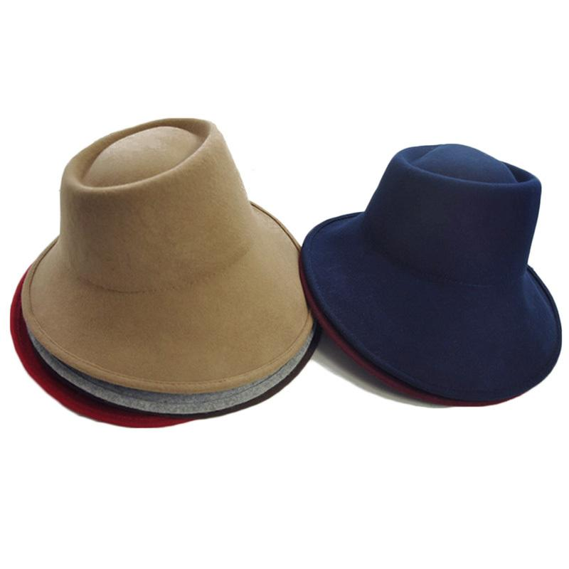 Elegantes mujeres sentían sombreros de sombrero de invierno sombreros ancho alba fedora especial inclinación asimétrica boda boda fiesta fiesta sombrero milinerario sombrero F1210