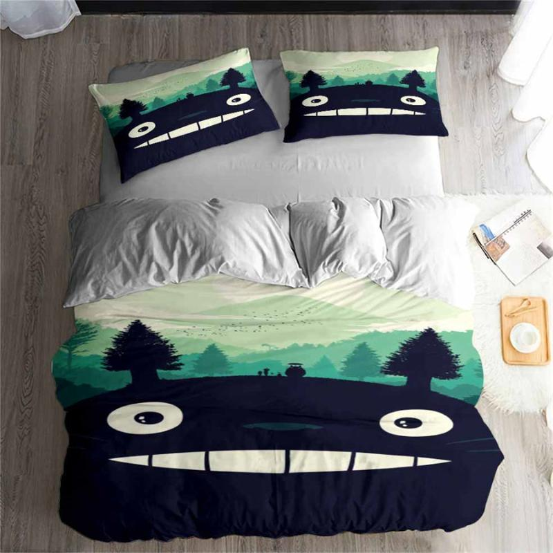 HELENGILI 3D Bedding Set Totoro Print Duvet Cover Set Bedcloth with Pillowcase Bed Home Textiles #LM17