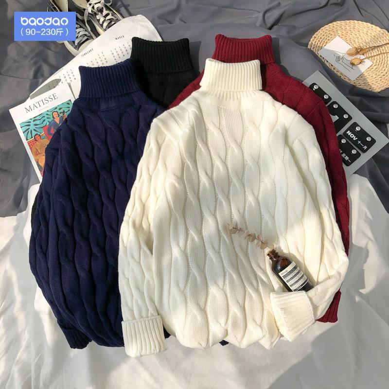 Korean Style Man Sweaters Fashion Casual Loose Winter Pullover Turtleneck Oversized Man Sweaters Pull Hiver Men's Clothing DB60M