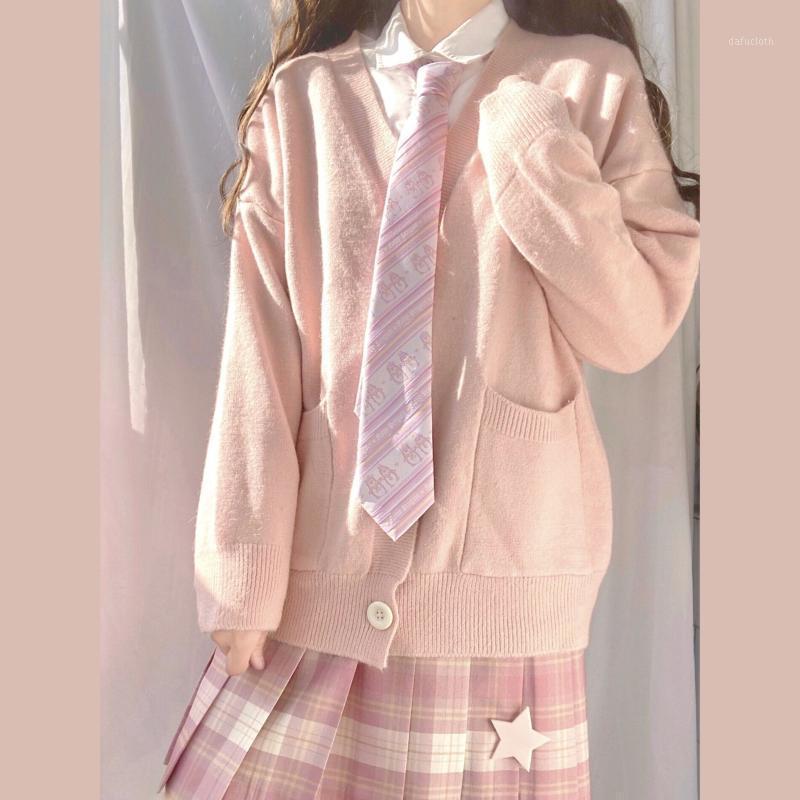 2020 Japon Tarzı Tek Göğüslü Hırka Bayan Kazak Bahar Sonbahar V Yaka Uzun Kollu Katı Triko Öğrencileri Kazak1