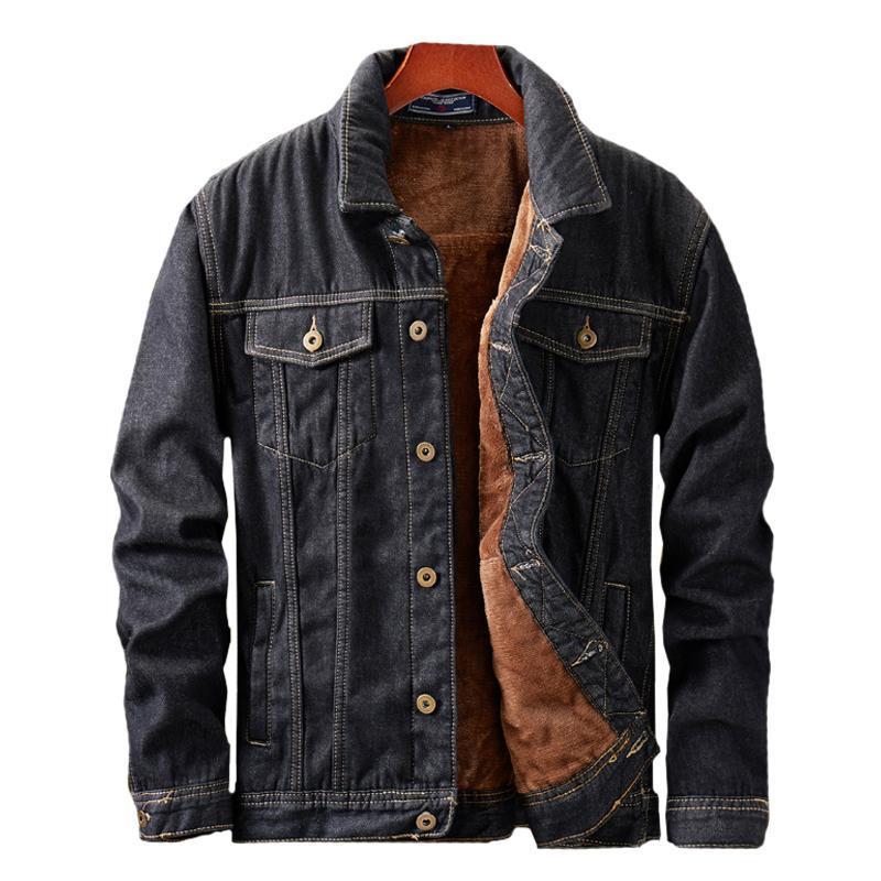 2020 Primavera Otoño Moda Casual Fleece Denim Jackets Hombres Cálido Cálido Lana Gruesa Liner Jeans Abrigos Chaqueta Masculina Outerwear Cotton HX267