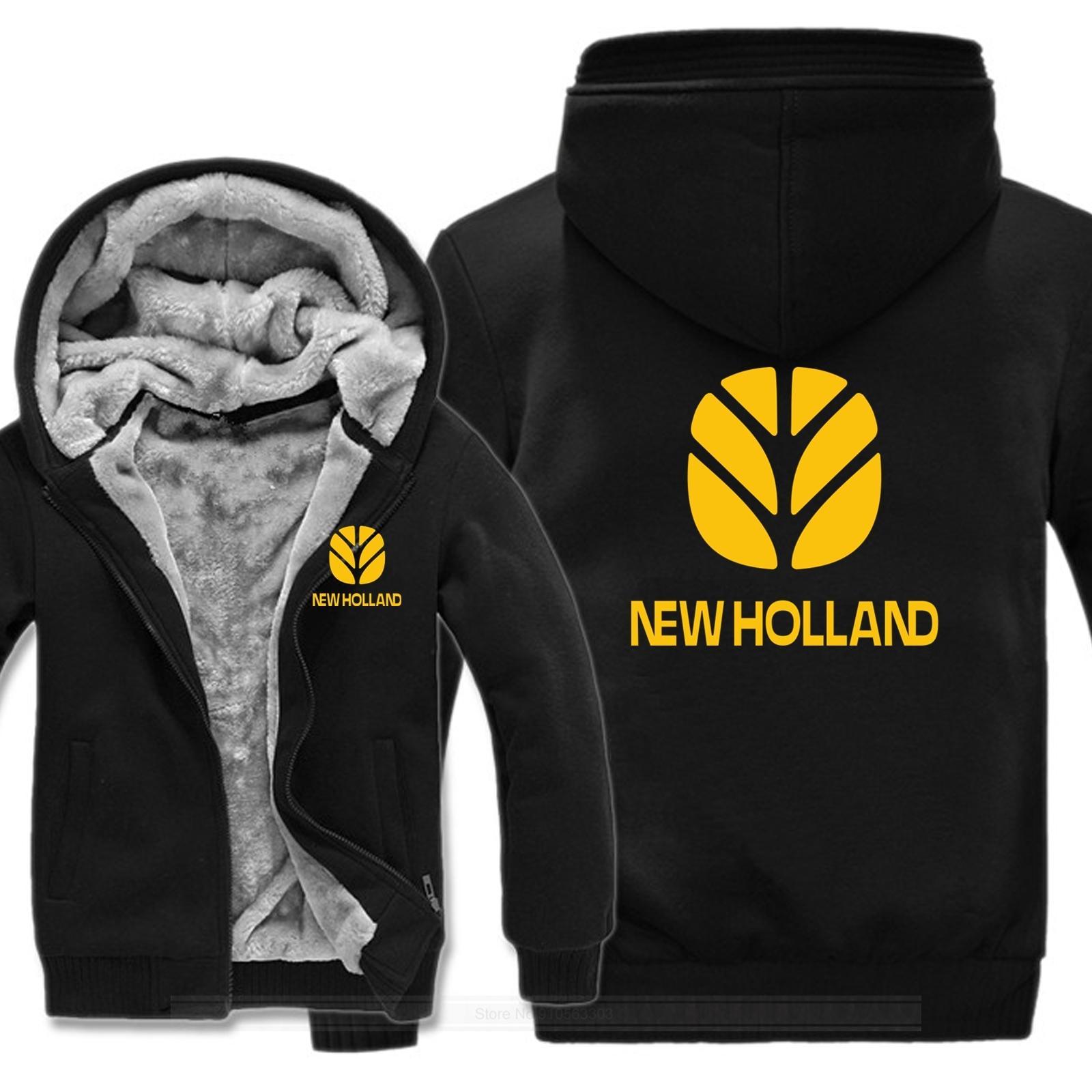 Felpe con cappuccio inverno uomini cappotto di moda pullover giacca rivestimento in pile nuovo holland agricoltura felpa con cappuccio