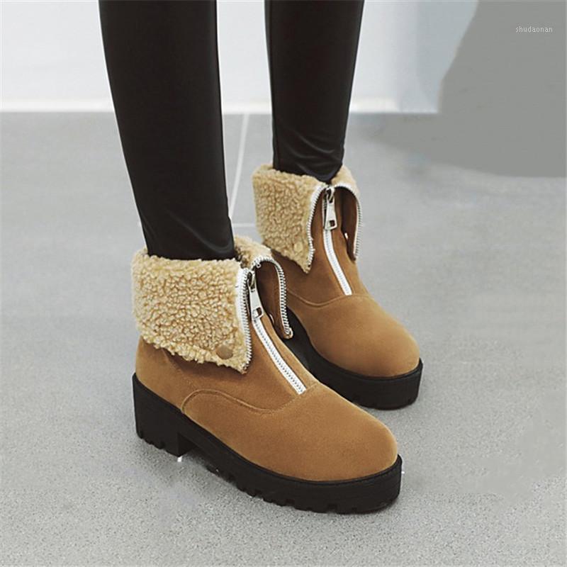Çizmeler Pxelena Kadınlar Ayak Bileği Ön Fermuar Tıknaz Blok Med Topuklu Ayakkabı Bayanlar Akın Faux Süet Punk Gotik Savaş Artı Boyutu1