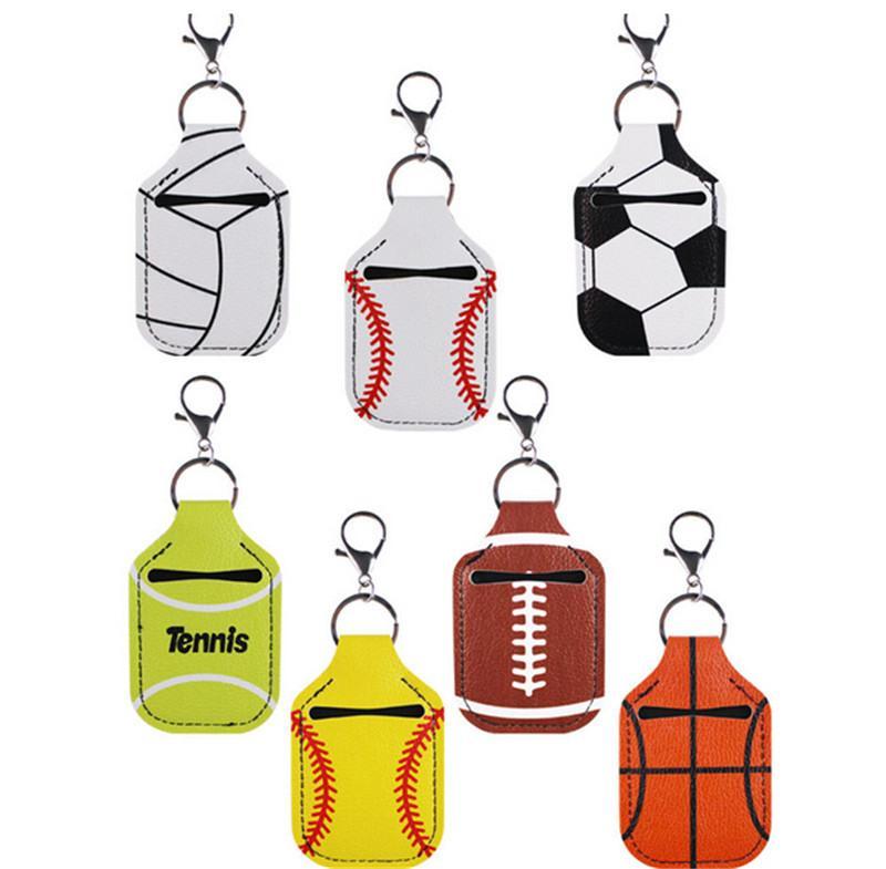 Baseball-Softball-Ballspiele Keychain Sanitizer-Halter Handwasch-Gel-Flasche-Fall-Metall-Clip-Schlüssel Ringe Schlüsselanhänger Tasche Anhänger Spielzeug E121001