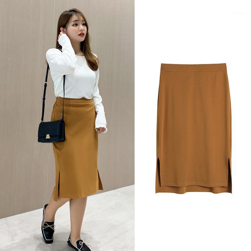 Spring bodycon saia mulheres pacote de algodão quadril split saia mid saias lápis para as mulheres femininas plus size1