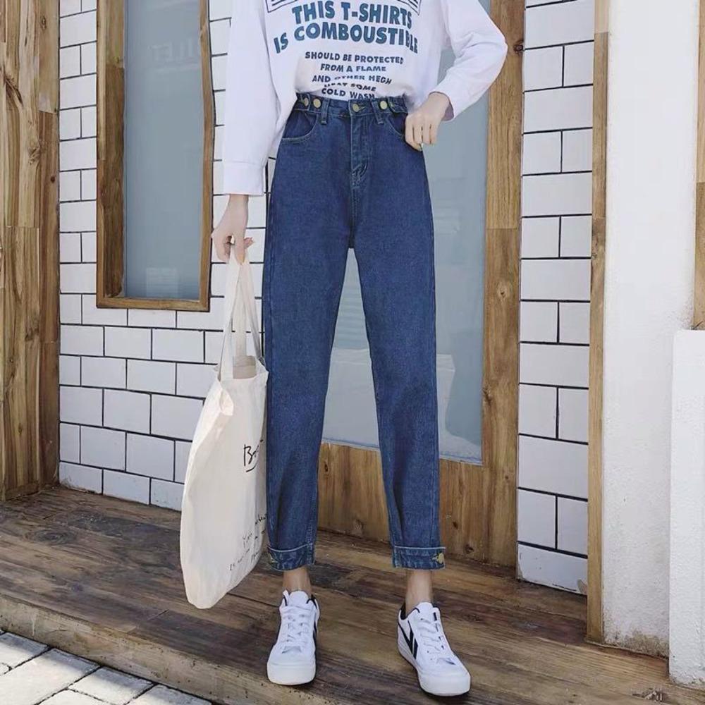 Roble suelto casual Jeans para mujer Vintage Streetwear Denim Papá Pantalones Boyfriend Pantalones de pierna recta Femenina Versátil Y1214