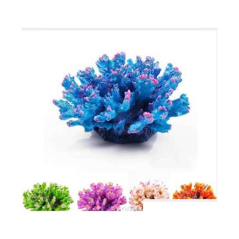 Nouvelle résine Aquarium Artificial Coral Décoration de poisson Réservoir de poissons Coral Récif Ornement Rock Paysagiste Aquarium Accessoir Qyloco Toys2010