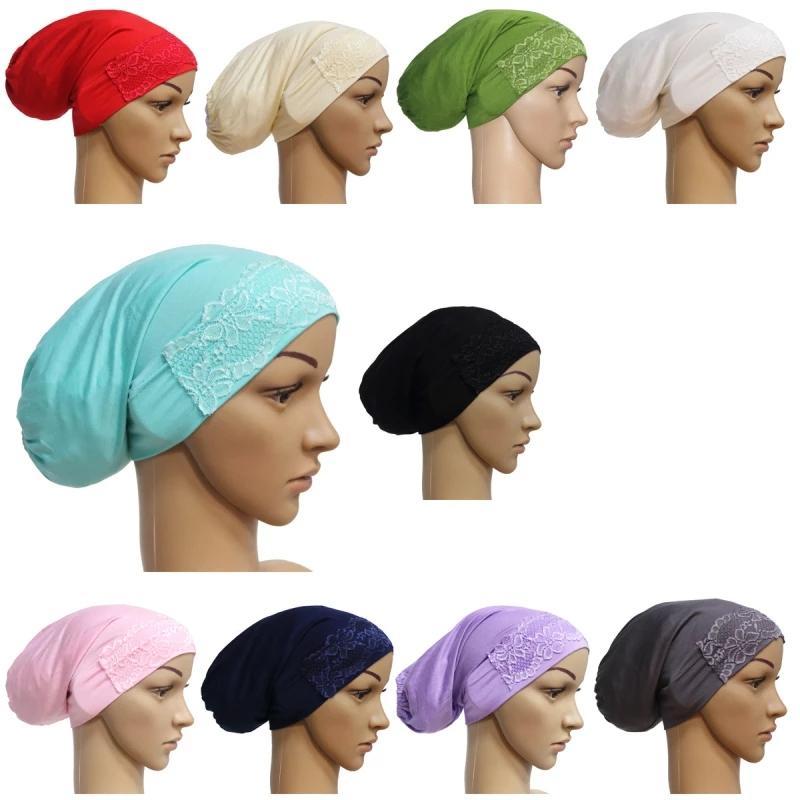 Casual Headgear Accessoires Musulman Femmes Musulman Tube Tube Cap Dentelle Décoration de la queue longue Capuche Casquettes Casquettes Turban Chapeau Hat Mon sommeil