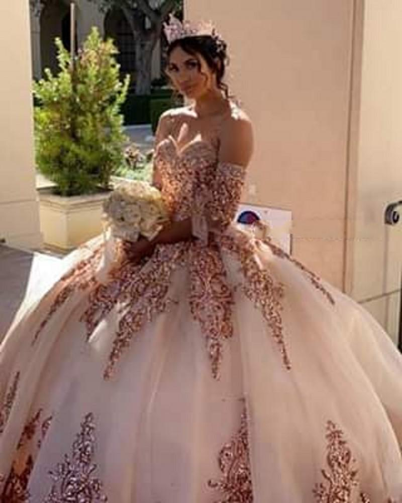 Omuz Sweet 16 Elbise Kapalı 15 años de Rose Altın Applque Pullu vestidos ile charro Allık Quinceanera Modelleri