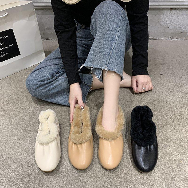Casual Mulher Sapatas Redonda Toe Sapatilhas Branco Calçado Feminino Mocassins Fur Inverno Driving Vestido Moccasin Lazer Básico Flat Sólido