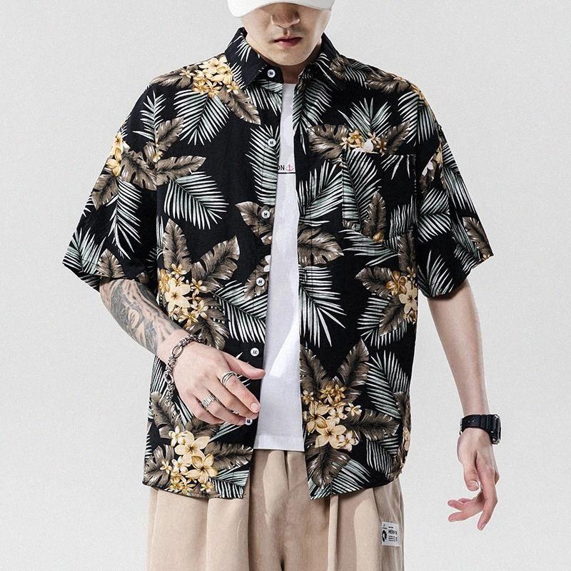 Brand New 2021 Strand Sommer Print Blume Kurzarm Hawaii Kragen Korea Stil Hemd für Herren Harajuku Kleidung # VV6R