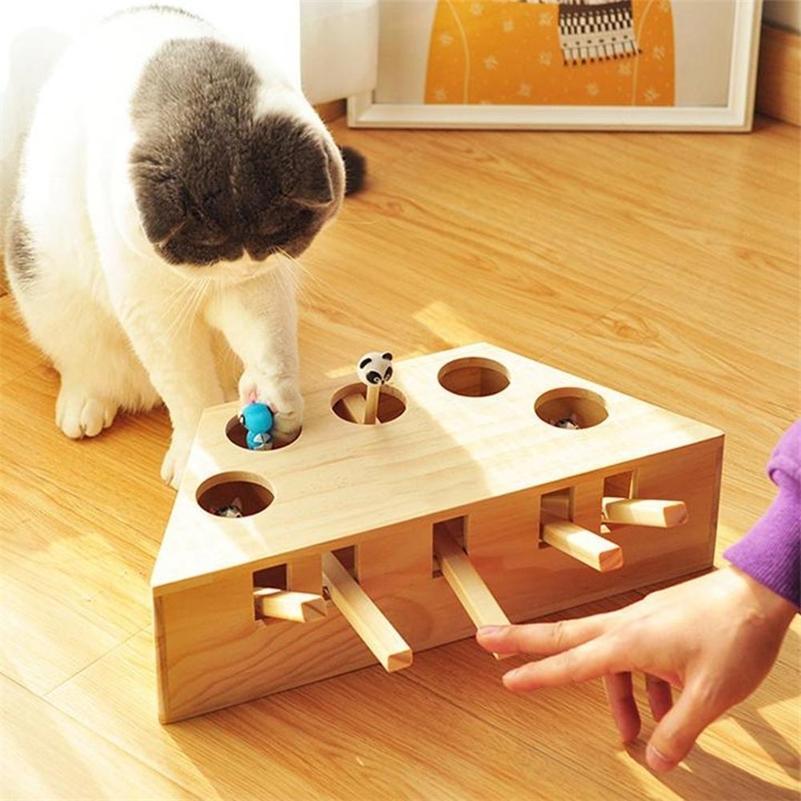 Pet Cats Hunt Toys Chase Mouse Wood Interactive Maze Pet Hit Hamster с 3/5-HORED COLED COLE KORE Крытый забавный кот уволить дразнить игрушки LJ201225