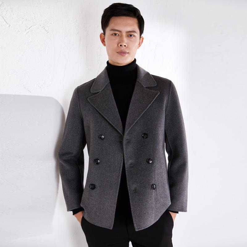 Woolen OutCoat Men's Short Double Doble Hombre Abrigo para hombre Coreano Casual Traje Autumn Chaqueta