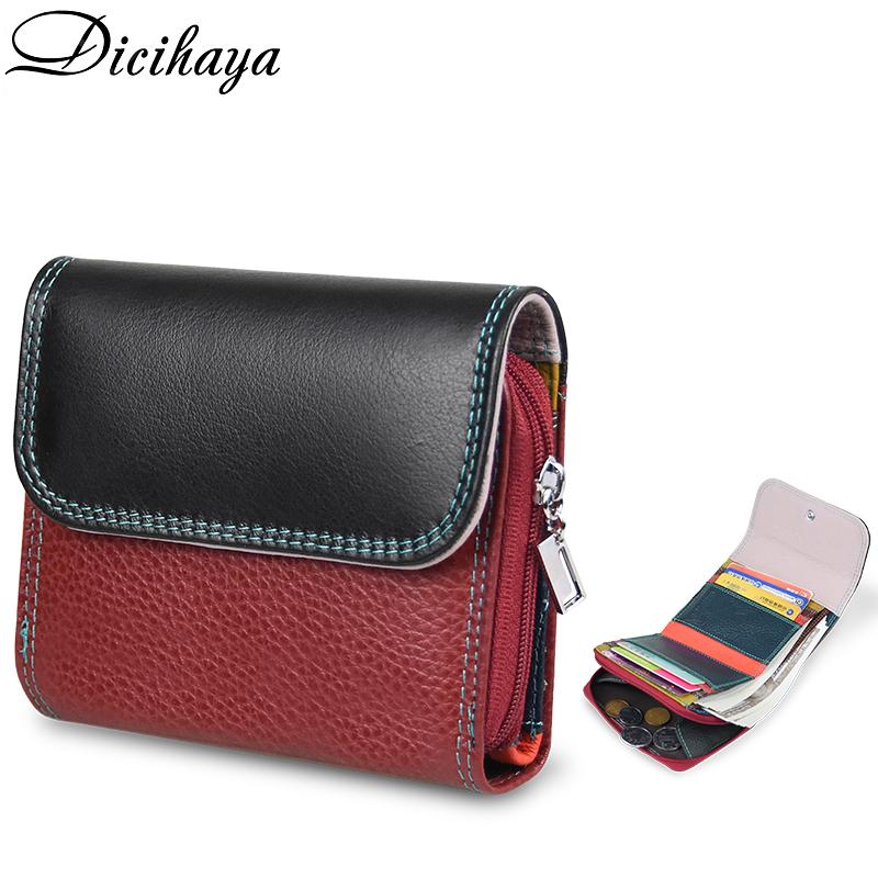 DiciHaya Nueva cuero genuino Mujer Multicolor Multicolor Pequeño Portomonee RFID Wallet Lady Coin moneders for Girls Money Bag