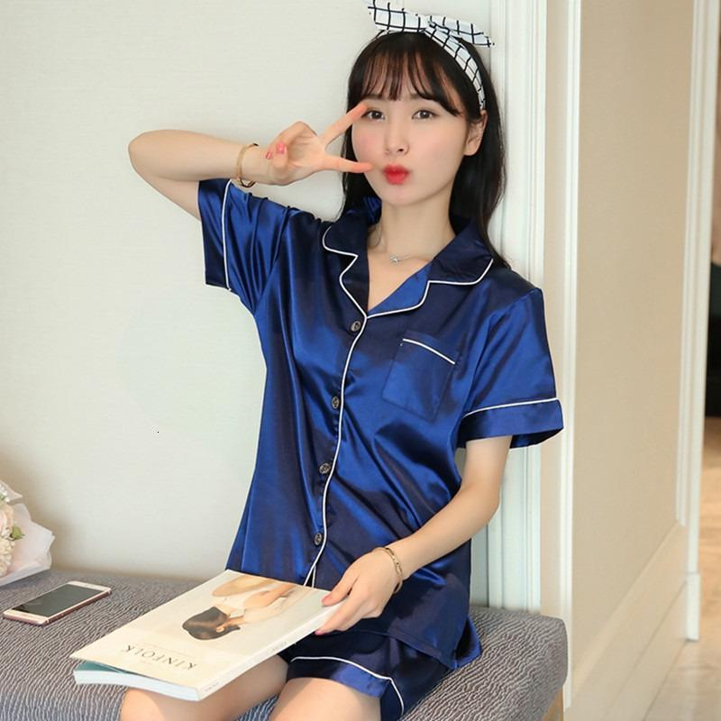 Novo verão de manga curta de seda cetim pijama conjunto dois peça sleepwear sexy nightwear mulheres shorts pajama homewear pijama y18102205