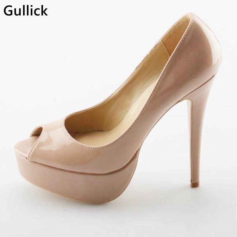 드레스 신발 Gullick Woman Peep Toe 플랫폼 얇은 하이힐 펌프 얕은 누드에 미끄러짐 14cm 숙녀 결혼식 연회 여름