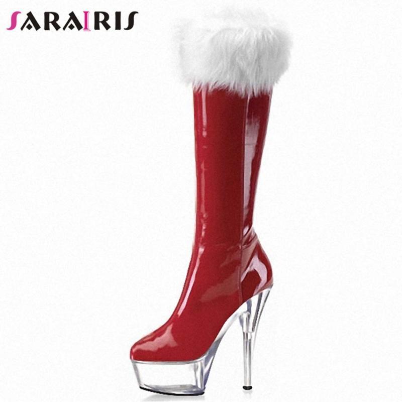 Sarairis Solid Platform Slip on Mid Calf Boots Women Party Super High Stiletto Heel Stivali invernali Stivali da donna Scarpe da donna