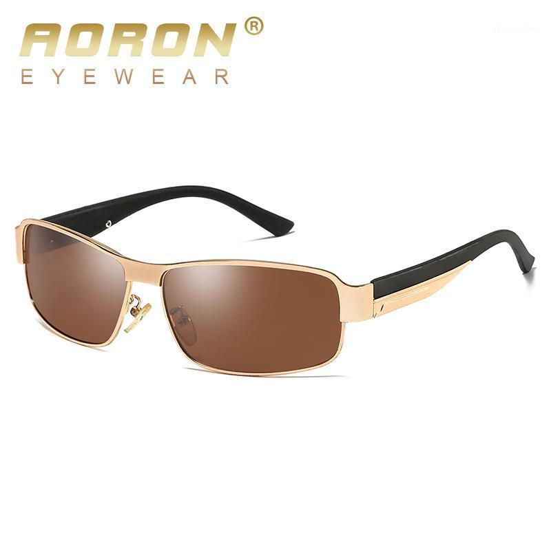 AORON Hombre Gafas de sol polarizadas Rectángulo Rectángulo Gafas de sol UV400 Gafas de metal de aleación Eyewear1