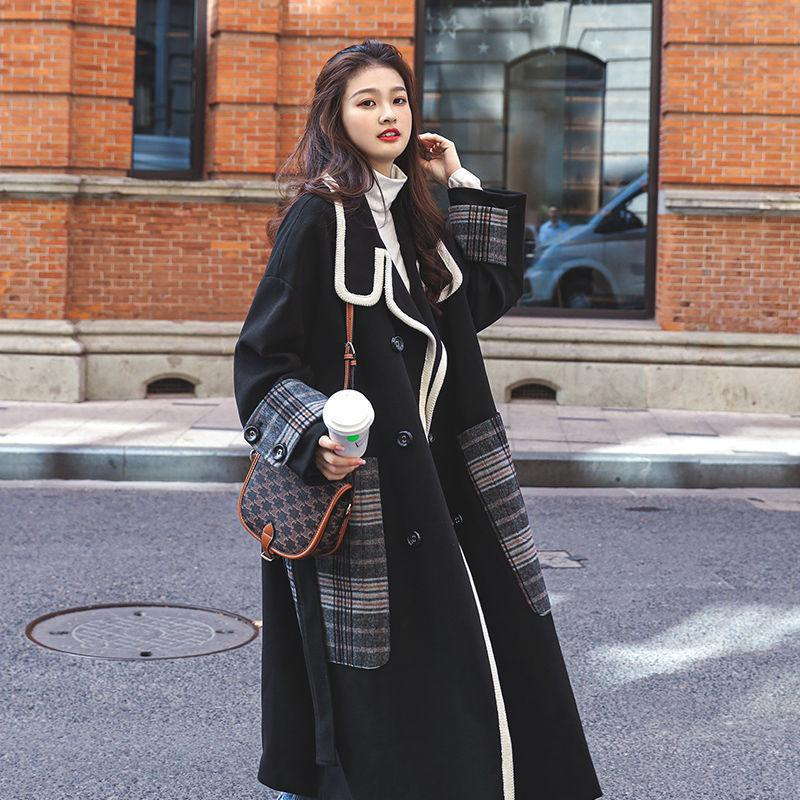 Hepburn wind black abrigo otoño e invierno nuevo estilo chaqueta de lana estilo coreano