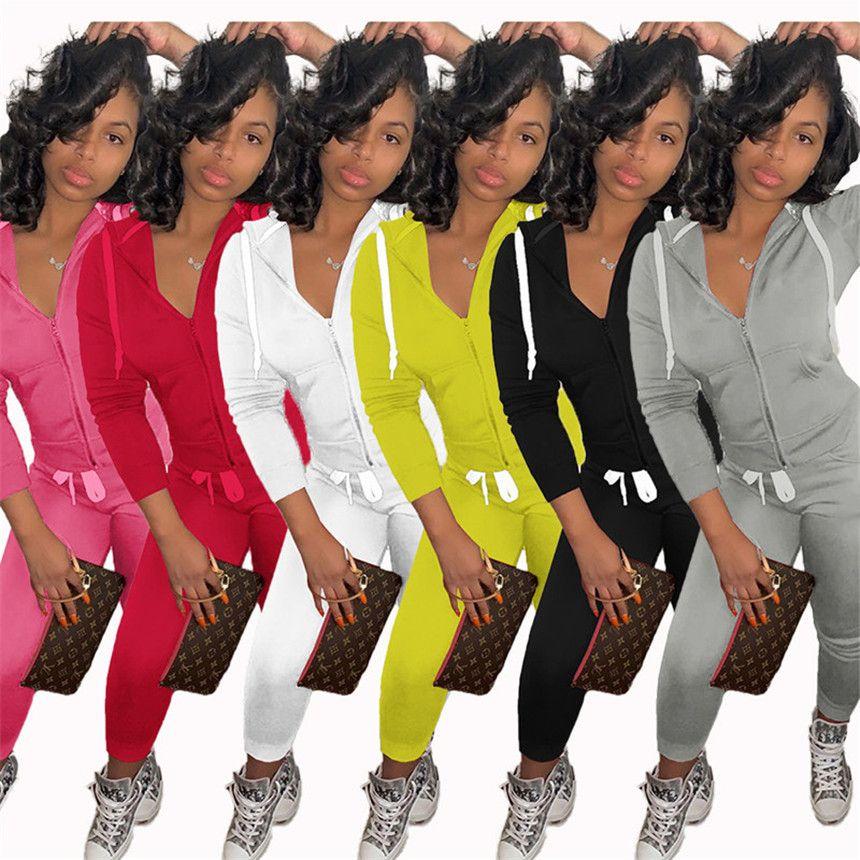 Plus Size L-5XL Frauen-Sweatsuit Jogger Anzug Massivfarbe 2 Stück Set Langarm Jacke + Leggings Herbst Winter Gerinnende Outfits 4214