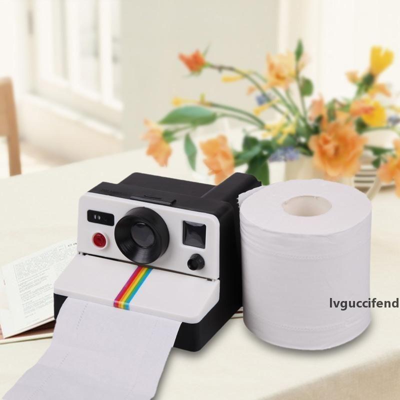 1 stücke Kreative Retro Polaroid Kamera Form Inspirierte Tissue Boxen Toilette Rolle Papier Halter Box Badezimmer Dekor T200425