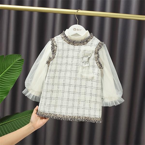 Baby Mädchen anmutiger Bogenweste Kleid + T-Shirt 2 stücke Sets Mode Herbst Laterne Sleeve Süße Prinzessin Kleid Kinder q1117
