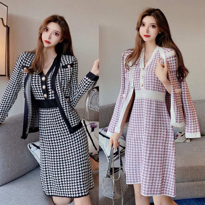 Vestido feminino de temperamento 2021 novo vestido de colete temperamento + houndstooth pequeno jaqueta de duas peças camisola conjunto