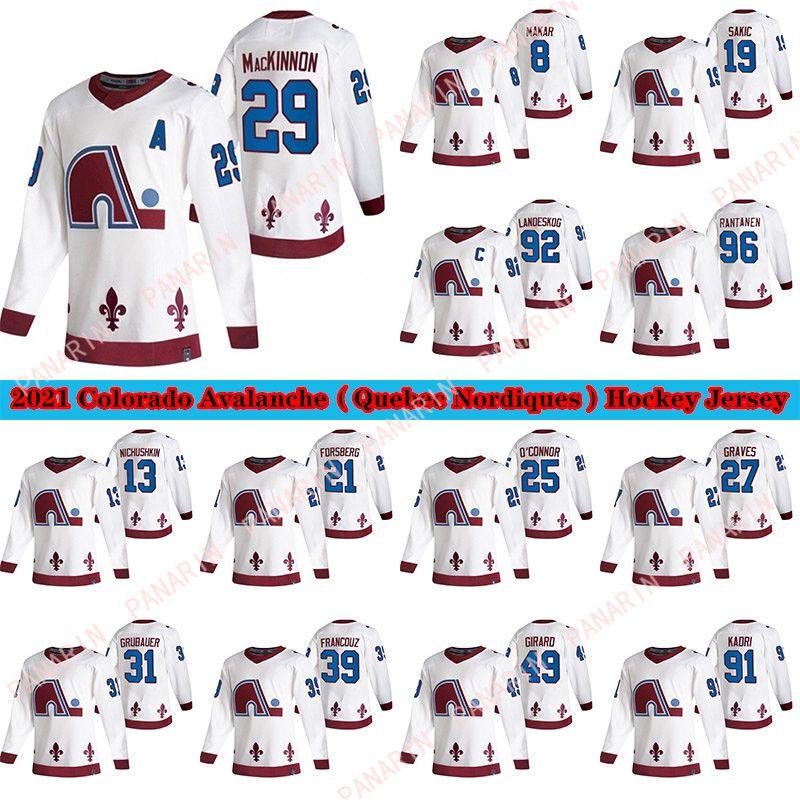Colorado Avalanche Jersey 2020-21 Reverse Retro Quebec Nordas 8 Cale Makar 29 Nathan Mackinnon 96 Rantanen 19 Sakic Hockey Jersey