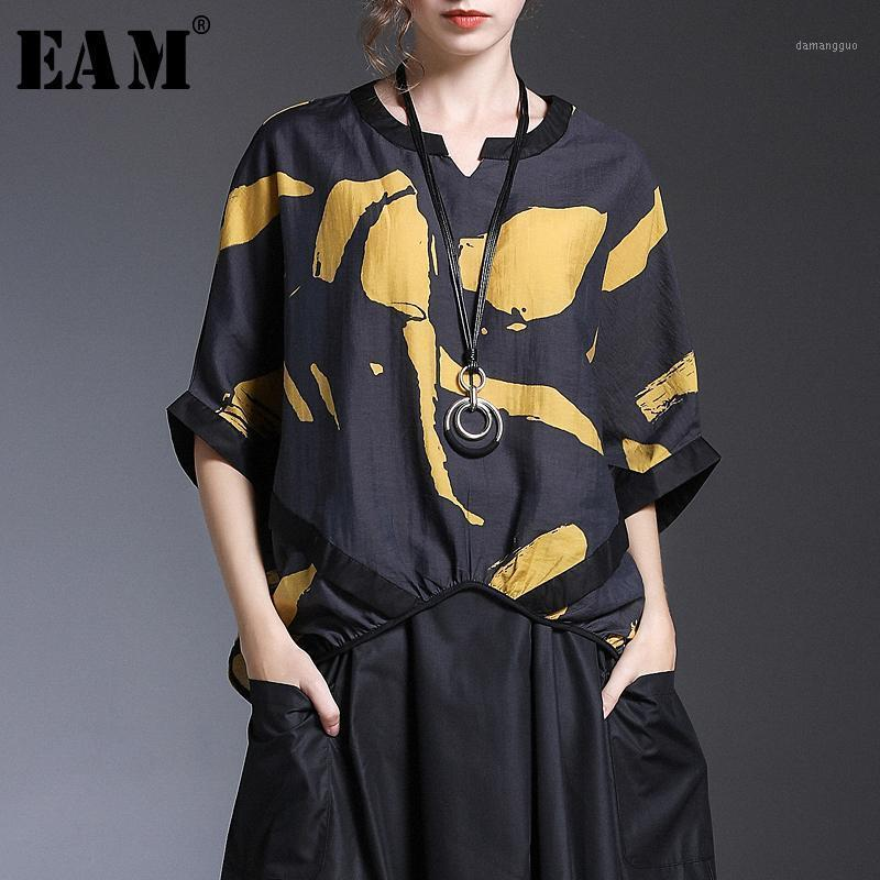 Женские блузки Рубашки [EAM] 2021 Весна Лето V-Воротник Полукайв Печать Шаблон Темперамент Свободный Большой Размер Рубашка Женщины Блузка Мода T