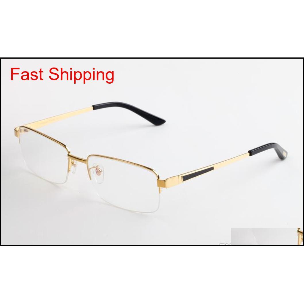 Mujeres de lujo de diseño de gafas de lectura de lectura de lujo de lujo rectangular óptico vintage titanio semi-rimless marco para hombre diseñador gafas EACYX