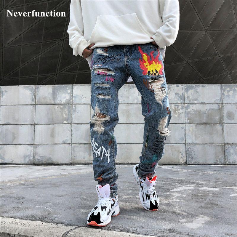 Hombres Streetwear Graffiti Impreso Impreso MEGUEDO PEAJE JEANSE HIPST HIP HOP HOJAS ANIMALES DE LA KNEE AGUTOS JOGGERS JEANS PANTALONES DENIM C1123