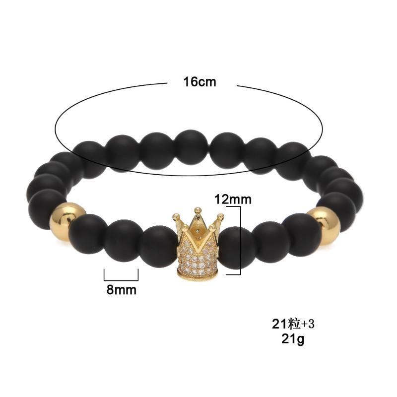 Hiphop Micro Pave Cubic Zirkonia Black Gold King Crown Crown Crown Armband Matt polnisch Matte Stein Perle Armband Männer Schmuck